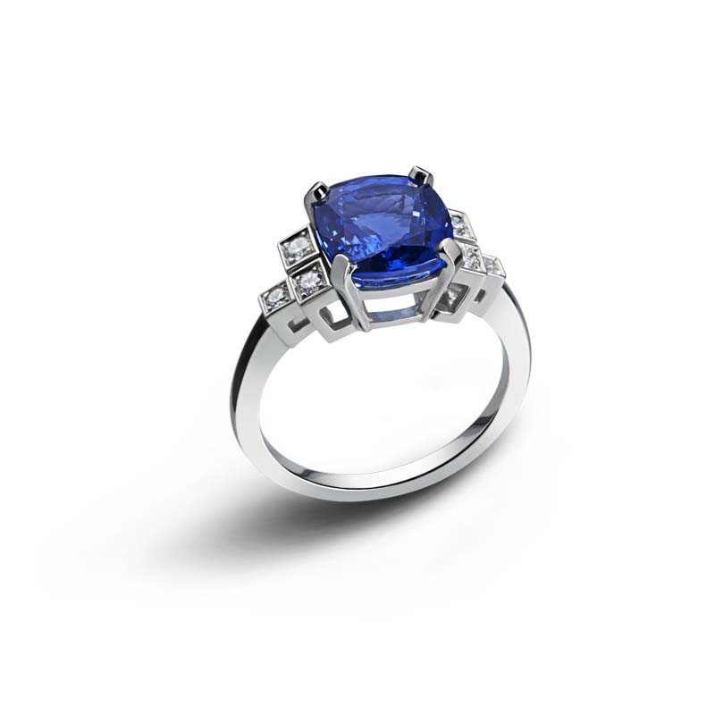 Bague Blue Square