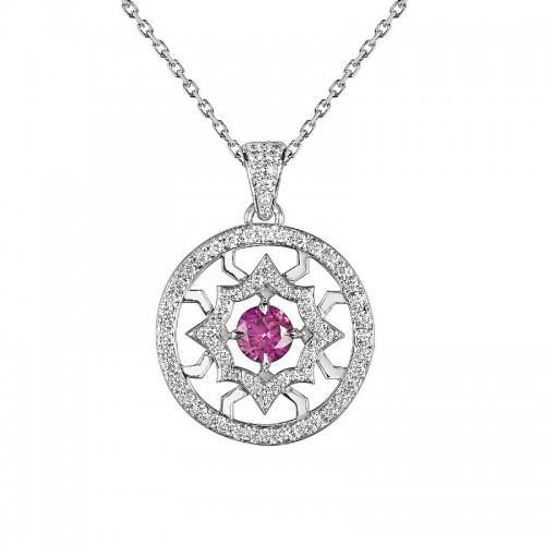 Pendentif Etoile de Méandre saphir rose
