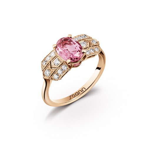 Bague Charleston saphir rose